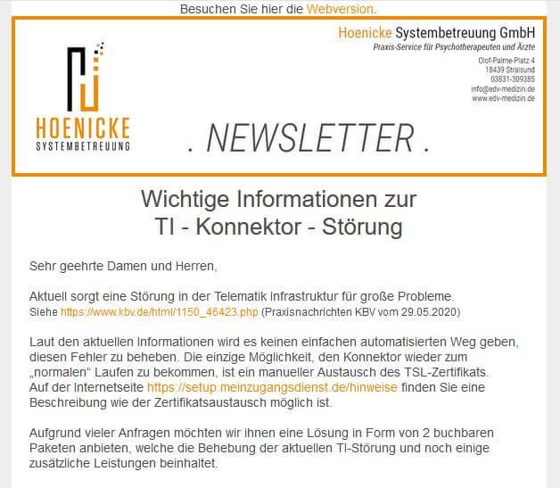 Newsletter Ansicht Hoenicke Systembetreuung